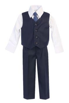 28b55b75c31fb Boys Navy Blue 4-pc Vest & Trousers Dresswear Set 8570 Toddler Dress Pants,