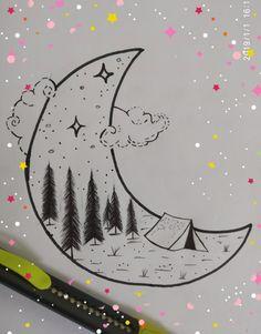 moon drawing easy drawings draw sad pyrography