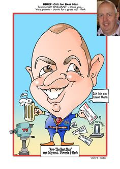 Best man caricature 2 of 2 Kent London, Caricature From Photo, London Wedding, Pen And Paper, Trade Show, Corporate Events, A Good Man, First Love, Product Launch