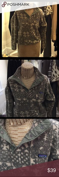 Patagonia Synchilla Vintage Pullover Forest/Army Green and Cream Patterned Patagonia Synchilla Pullover. Three snap collar and pockets. Size Small. 100% Polyester exclusive of trim. Great Vintage Statement Piece! Patagonia Tops Sweatshirts & Hoodies