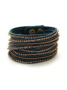 Blue Leather Multi-Wrap Bracelet by Presh on Gilt.com