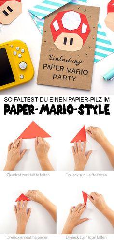 Lustiger DIY-Paper-Mario-Pilz und mega Gewinnspiel! Mario Party, Diy For Kids, Cardmaking, Nintendo, Happy Birthday, Presents, Games, Super Mario, 3d