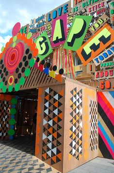 """""""Festival of Love"""", Southbank London, strong neon type and materials were a take away from this pop-up event,pinned by Ton van der Veer"""