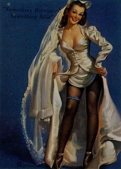 """Something Borrowed, Something Blue"" by Gil Elvgren 1947"