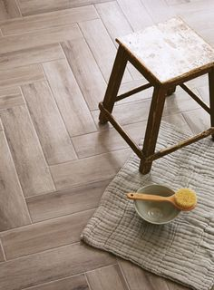 The look of real wood parquet is extremely popular, however some of our customers wanted to replicate the look with porcelain ideal for hallways, kitchens and bathrooms, and so we had this gorgeous new tile made for us in Italy. The tiles, which are a sta Wet Room Flooring, Kitchen Flooring, Kitchen Dining Living, Wood Parquet, New Bathroom Ideas, Kitchen Board, Fired Earth, Old Bathrooms, Loft Room