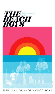 The Beach Boys - Hollywood Bowl (Fluorescent Lithograph) The Beach Boys, Tour Posters, Band Posters, Music Posters, Poster Wall, Poster Prints, Gig Poster, Art Prints, Beach Images