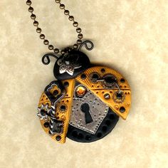 Steampunk Gold Color Ladybug With Lock and Key Necklace Polymer Clay Jewelry