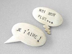 French Speech Bubble Brooches  Nouvelle Vague Quote by Vangloria, €50.00