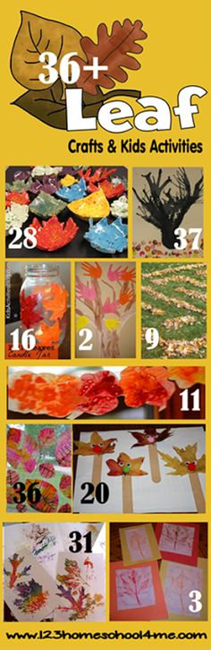 36 Leaf Crafts and Kids Activities for Fall 36 Leaf Crafts for Kids – so many fun, creative leaf activities for kids great for fall (preschool, kindergarten, elementary age, fall) Autumn Activities For Kids, Fall Preschool, Fall Crafts For Kids, Craft Activities, Preschool Crafts, Art For Kids, Preschool Kindergarten, Toddler Preschool, Autumn Crafts