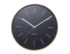 Stylish Wall ClockTimeless Design Classic Karlsson wall clock featues minimalist black face with an on-trend copper coloured case Perfect for a contemporary home or office looking for a splash of modern style This clock would make a fabulous new home or wedding gift Diameter: 27.5cm Excludes x 1 AA battery We have other copper coloured products and clocks in our rangeCopper case.