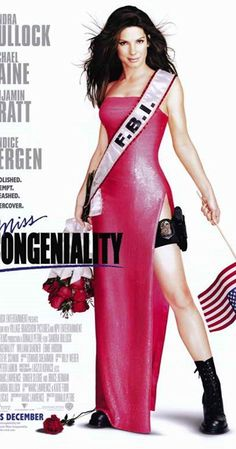 Miss Congeniality, 2000 - Directed by Donald Petrie. With Sandra Bullock, Michael Caine, Benjamin Bratt, Candice Bergen. Agent must go undercover in the Miss United States beauty pageant to prevent a group from bombing the event. Funny Girl Movie, Love Movie, Movie Tv, Movie List, Funny Movies, Comedy Movies, Miss Congeniality Movie, Sandra Bullock Miss Congeniality, Best Chick Flicks