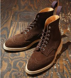 Chocolate Suede Brogue Boots by Trickers