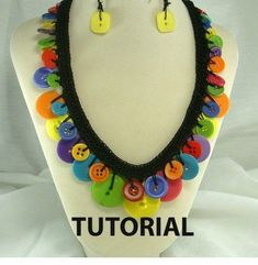 Crochet Button Necklace Tutorial: