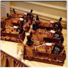 Goodie baskets from bride to groomsmen