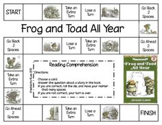 Game for Frog and Toad All Year by Arnold Lobel comprehens game, games, toad, game heyyouneverknow, frogs, first grade