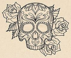 ☮ American Hippie Art ~ Coloring Pages . Sugar Skull - DIY and Crafts Sugar Skull Design, Skull Tattoo Design, Sugar Skull Art, Sugar Skulls, Tattoo Designs, Sugar Skull Stencil, Adult Coloring Pages, Colouring Pages, Coloring Books