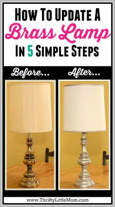 How to Update a Brass Lamp in 5 Simple Steps. I made this $5 Estate Sale lamp the perfect match for my new living room decor in just 5 steps.  I also show you how to paint a fabric lamp shade.