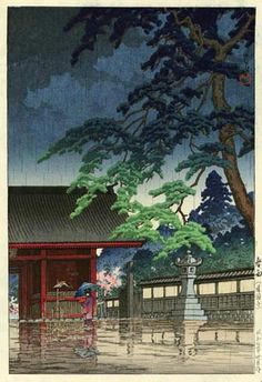 hanga gallery . . . torii gallery: Spring Rain, Gokokuji Temple by Kawase Hasui,  1932