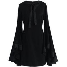 Chicwish Awe in Bell Sleeves Black Dress ($62) ❤ liked on Polyvore featuring dresses, black, little black dress, lining dress, retro style dresses, retro dresses and zip back dress