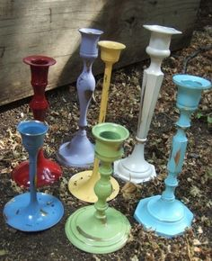 all the gold candlesticks that nobody wants at the thrift store. Such a cute idea!