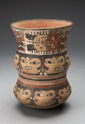 Nazca South coast, Peru Curving Beaker with Rows of Abstract Human Faces, 180 B.C./A.D. 500 Ceramic and pigment 18.7 x 13.5 cm (7 3/8 x 5 5/16 in.) http://www.artic.edu/aic/collections/artwork/91281?search_id=23&index=0