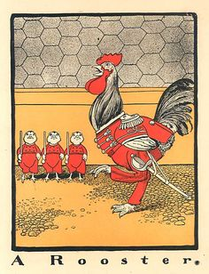Antique Child's Word A Rooster Illustration Print c 1910 Rooster Soldier with Baby Chicks Army