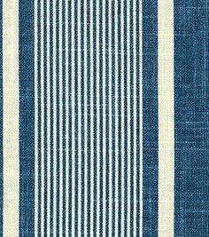 Home Decor Fabrics-Waverly Berkley Stripe Indigo Fabric Offer Stores