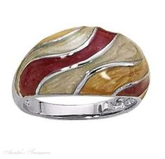 silver enameled dome ring