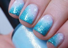Disney - Frozen Inspired : Baby blue frosted Nail Art...x
