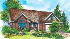 Home Plans HOMEPW26920 - 1,365 Square Feet, 3 Bedroom 2 Bathroom New American Home with 2 Garage Bays