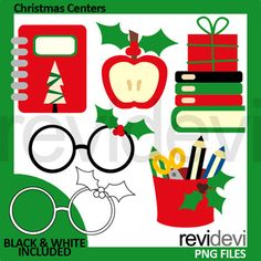 Christmas centers and activities clip art in bold Christmas colors, red and green dominant. Book, apple, glesses with holy leaves, books and gift, and pencils. Fun school supplies clipart in Christmas theme. Great resource for any school and classroom projects such as for