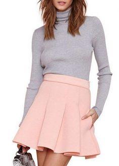 New Arrival High Waist Design Pink Woman Skirt