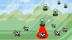 Cows and alien wallpaper. I saw this one on openbox window manager site and thought of sharing it. I kinda like it. Hd Wallpaper Android, Widescreen Wallpaper, Wallpapers, Alien Abduction, Color Balance, Lock Screen Wallpaper, Ufo, Graphic Illustration, Icon Design
