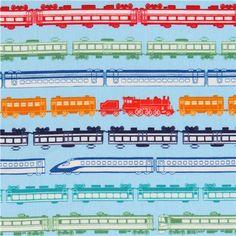blue train railway stripe poplin fabric for boys by Cosmo from Japan