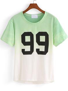Green Ombre Round Neck 99 Print T-Shirt   -SheIn