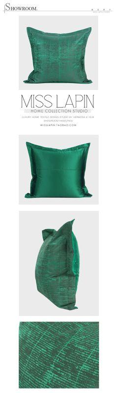 现代中式/样板房家居床头靠包抱枕/祖母绿深绿色条纹纹理提花方枕-淘宝网