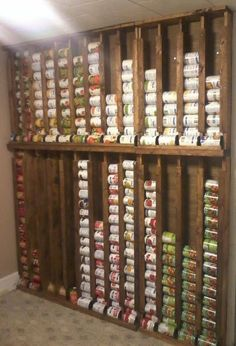 Do a pantry wall like this to increase storage and improve food rotation.