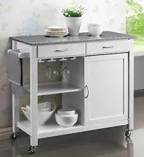 Harrogate White Painted & Grey Granite Top Kitchen Trolley Island Cupboard