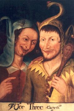 Depiction of Henry VIII playing the harp, flanked by his court jester Will