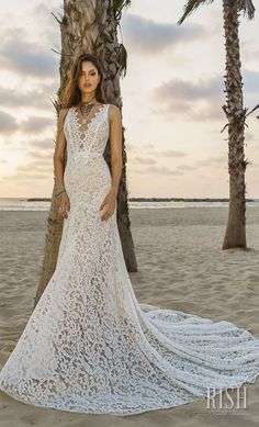 """Rish Bridal 2018 """"Sun Dance"""" Collection – Romantic Timeless Bohemian Chic Wedding Gown Nina fitted silhouette bridal gown. Head to toe classy romantic elegant bohemian lace over nude lining in a sexy comfortable cut, embellished and beaded deep V neck line. Light comfortable flattering sexy bridal gown. #RishBridal #SunDance #NinaByRish #BohoChic #BohoGown #WeddingDress #Romantic #Bride #Sponsor #wedding #weddinggown #lace #bohobride"""