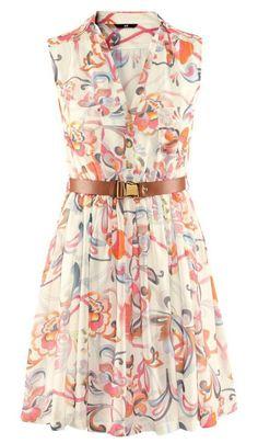 Women's Fashion Beige Sleeveless Floral Belt Chiffon Dress
