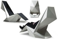 """POWER'NAP designed by Ninna Helena Olsen: an origami-like design """"gently encloses your body"""" while looking like a work of art."""