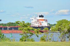 The CSL Tacoma, anchored in the Delaware River at Burlington, NJ.