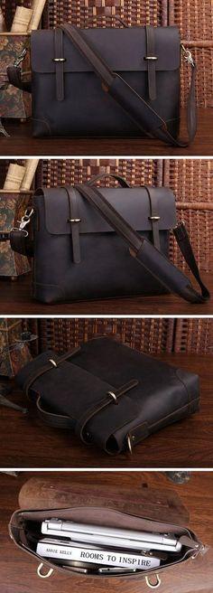 """Handmade Vintage Leather Briefcase / Leather Messenger Bag / 13"""" 15"""" MacBook 13"""" 14"""" Laptop Bag D36"""