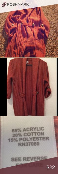 """Cato's Orange Open Cardigan JUST LISTED: Cato's Cardigan    Color: Beautiful Rusty Orange w/pop of color    Condition: EUC  Measurements:   Chest: pit to pit 18"""" *Since front is open I measured it across the back.   Length: 27""""   ❌Trades❌  ⚡️I ship lightening fast⚡️ ****Listing #T3265 🎉Price is firm unless Bundled🎉 Cato Sweaters Cardigans"""