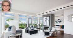 Meryl Streep Is Selling Her New York City Penthouse | PEOPLE.com Walnut Hardwood Flooring, New York Penthouse, Meryl Streep, Ceiling Windows, Open Plan Living, Pent House, Luxury Living, Master Suite, Dining Area