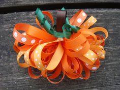 Pumpkin Sculpture Loopy Puff Hair Bow.