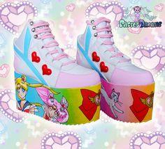 Hand painted sailor moon inspired platform flatform shoes