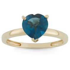 1 3/4 Tcw Tiara Heart-cut London Blue Topaz Ring in 10k Yellow Gold - (5)