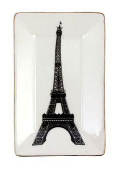Ceramic Black Eiffel Tower Ring Dish